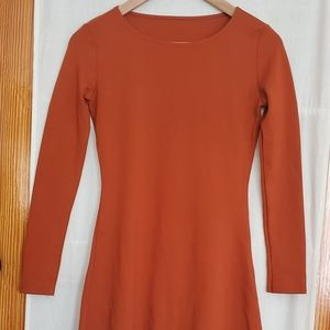 Long sleeve ponte mini dress.